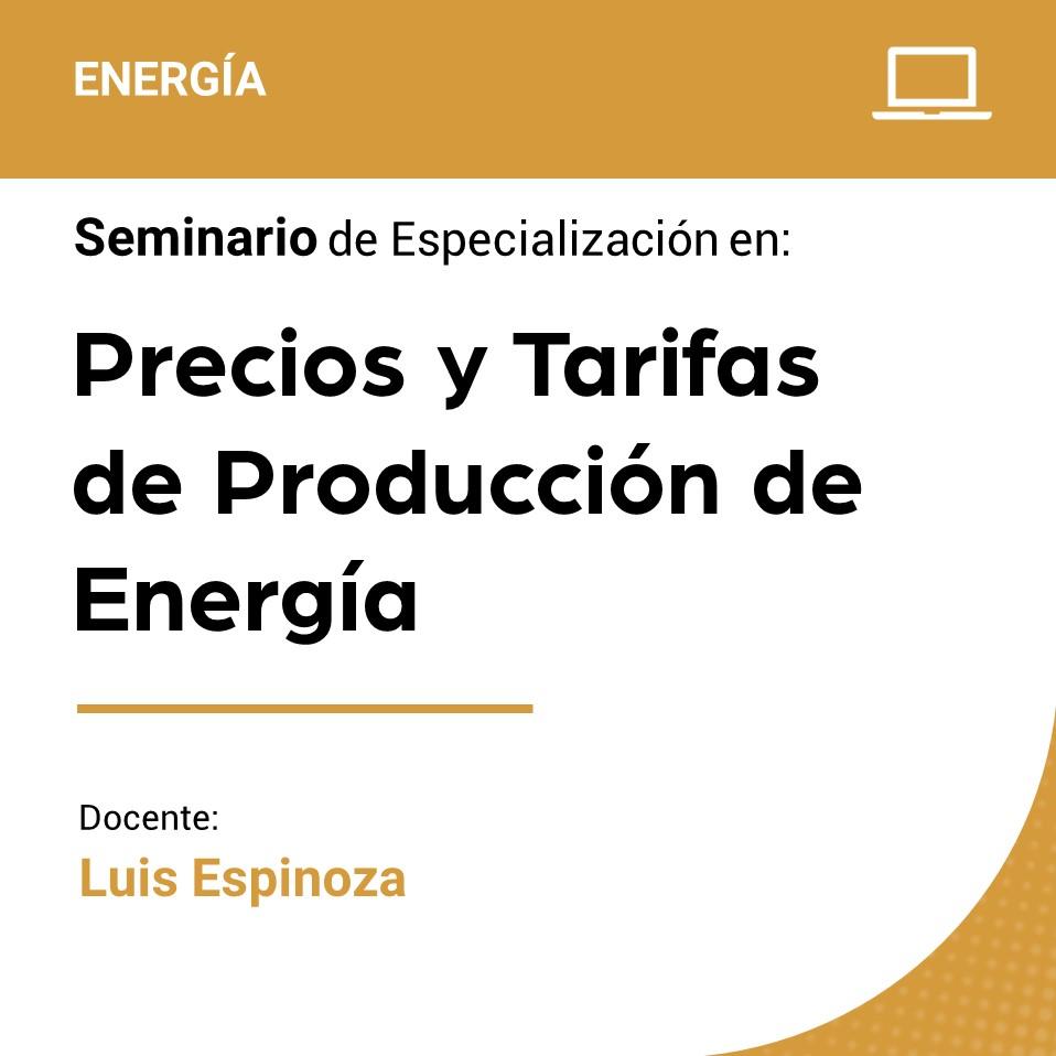 Seminario de Especialización en Precios y Tarifas de la Producción de Energía